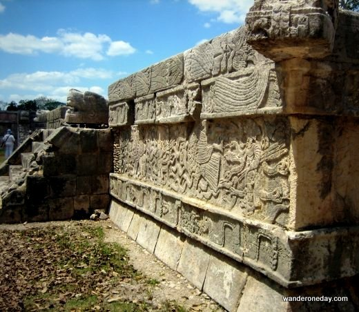 Ancient images decorate weathered stones at Chichen Itza, Mexico.